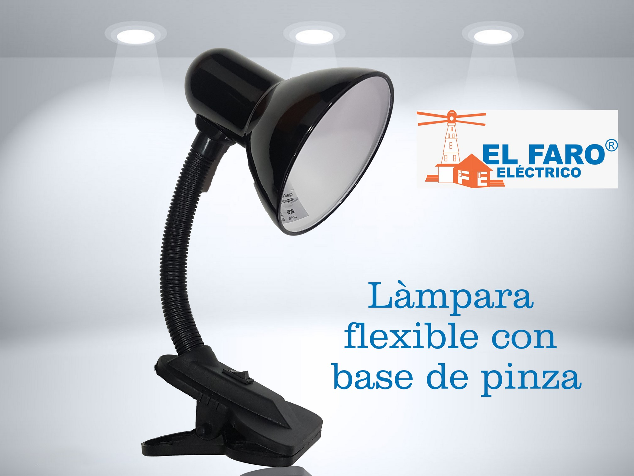 Lámpara flexible con base de pinza